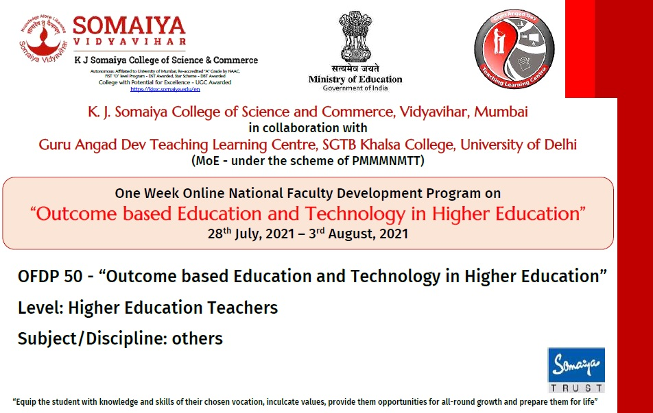Course Image OFDP-50 Outcome based Education & Technology in Higher Education