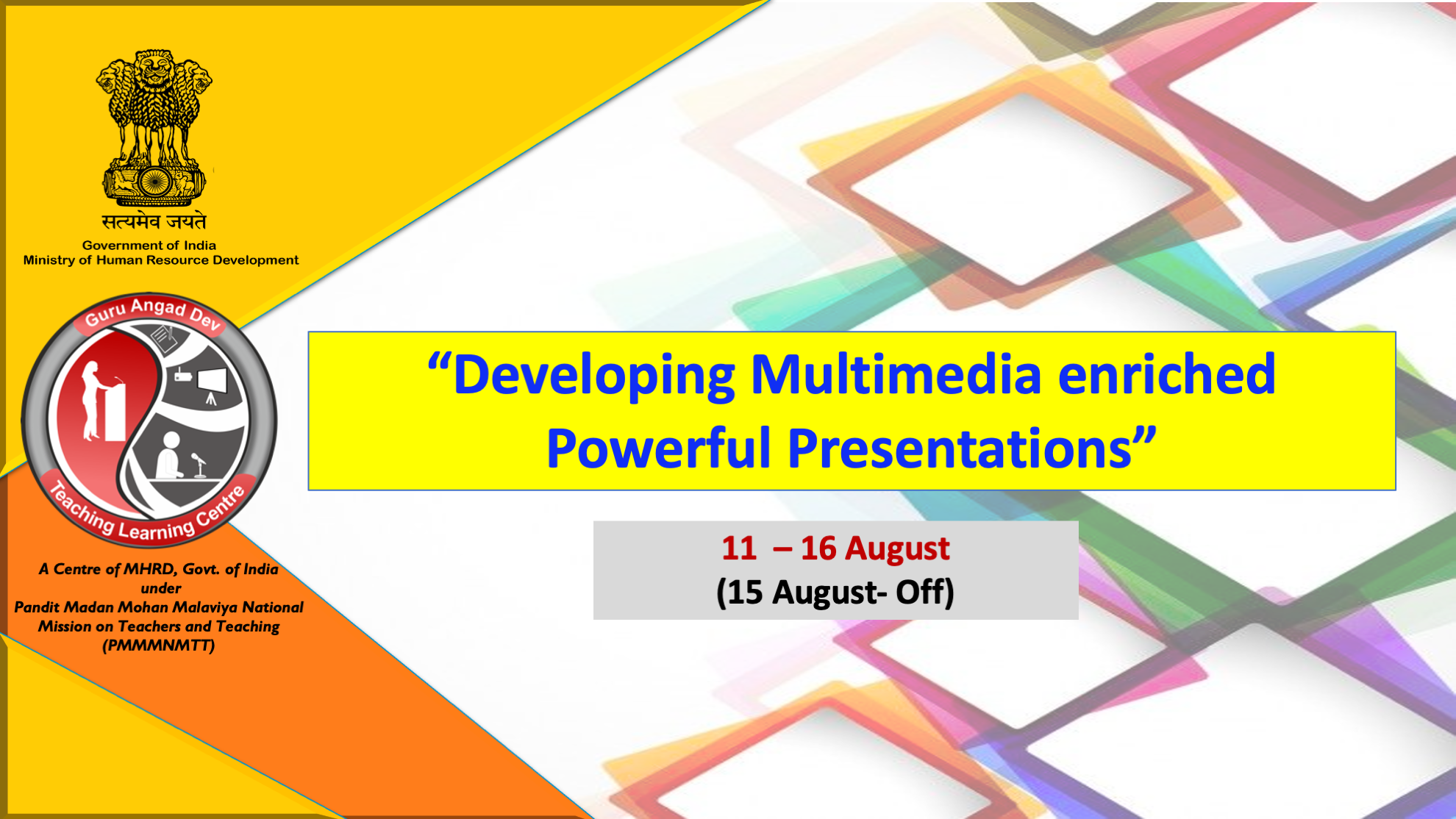 Course Image FDP: 11-16 August 2020 Developing Multimedia enriched Powerful Presentations