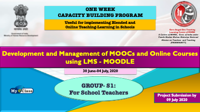Course Image One Week CBP for School Teachers: Development and Management of MOOCs and Online Courses using LMS- MOODLE